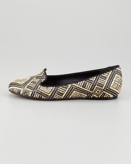 Hurley Raffia Smoking Slipper, Black/Natural