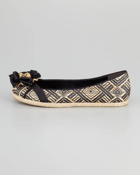Eri Basketweave Raffia Espadrille Flat, Black/Natural