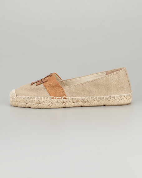 Weston Flat Espadrille, Metallic/Tan