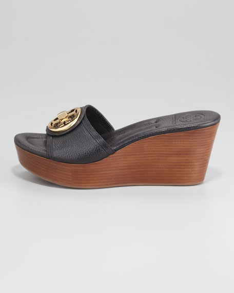 Selma Logo Wedge Slide, Black