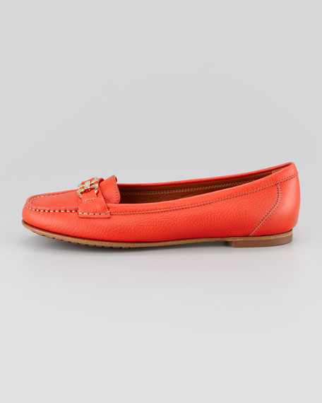 Simba Gancini Leather Moccasin, Coral