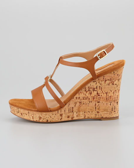 Savita Cork Wedge Sandal, Tan
