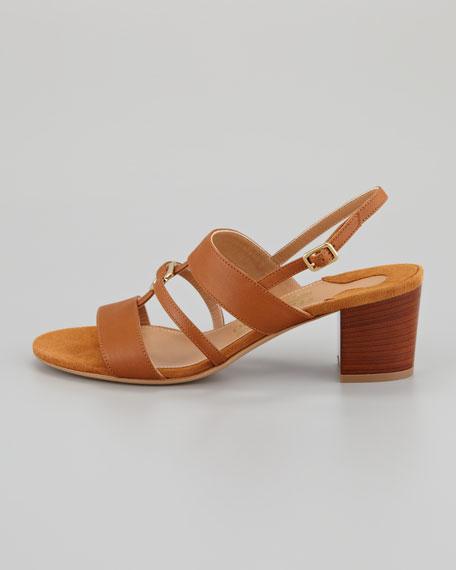Sloan Gancini Mid Sandal, Tan