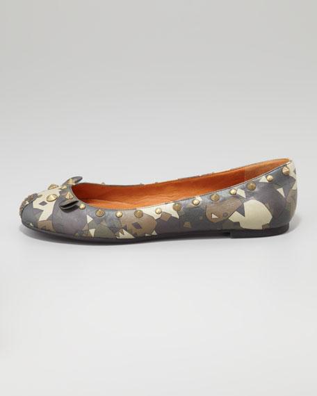 Studded Mouse Ballerina Flat, Camouflage