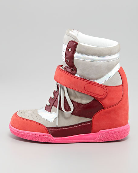 Internal Wedge Sneaker, Silver/Wineberry