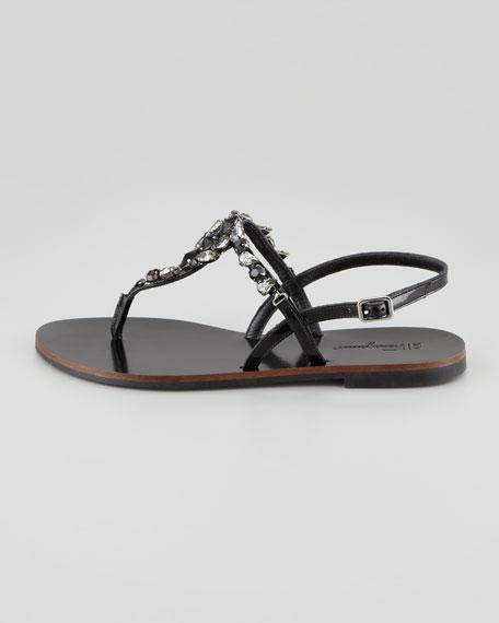 My Tresoure Crystal Thong Sandal, Nero