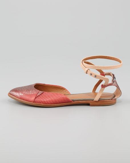 Ankle-Wrap Lizard Flat Sandal
