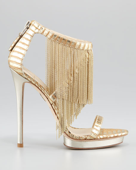 Metal Fringe Back-Zip Sandal, Gold