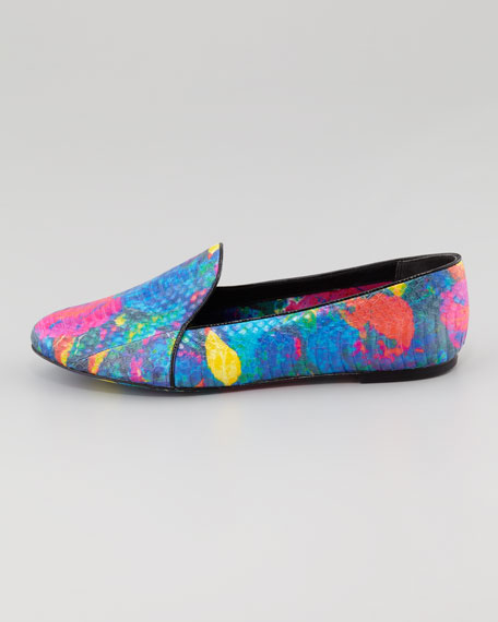 B Brian Atwood Painted Snake-Embossed Smoking Slipper