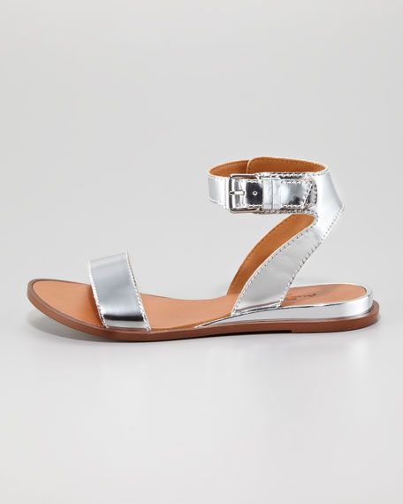 Maura Specchio Leather Flat Sandal, Silver