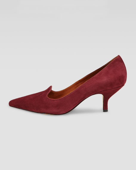 Clark Pointed-Toe Suede Smoking-Slipper Pump, Bordeaux