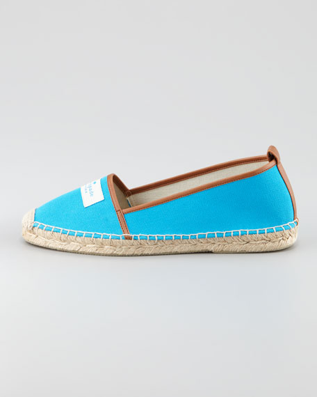 lara logo espadrille flat, turquoise