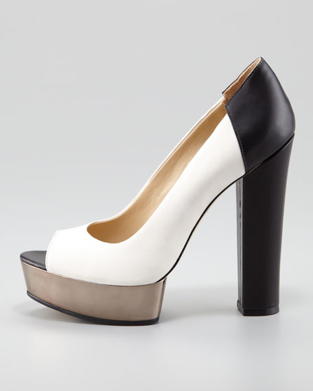 Lauren Two-Tone Peep-Toe Pump