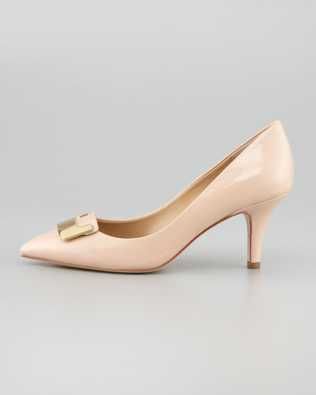 Adara Patent Leather Mid-Heel Pump, Nude
