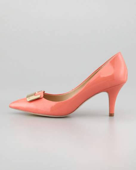 Adara Patent Leather Mid-Heel Pump, Peach