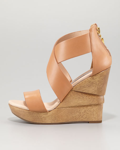 Opal Crisscross Wedge Sandal, Natural