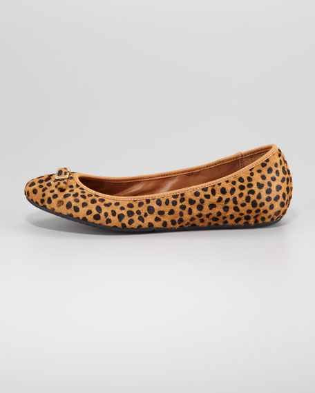 Bion Calf Hair Ballerina Flat, Leopard-Print