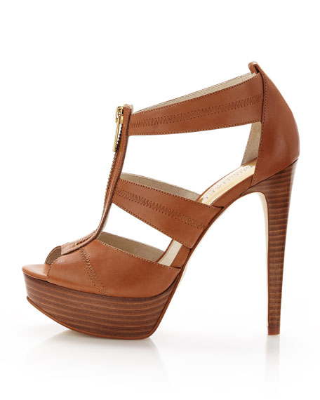 MICHAEL Michael Kors Berkley Leather T-Strap Sandal, Luggage