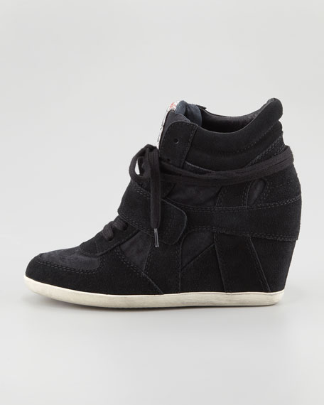 Bowie Suede Wedge Sneaker, Black