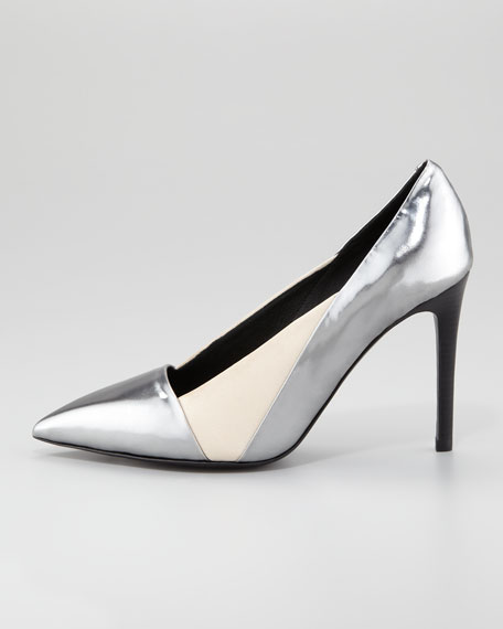 Specchio Pointed-Toe Pump, Anthracite