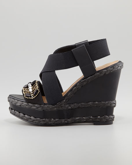 Tiki Jeweled Elastic-Strap Espadrille Wedge, Black