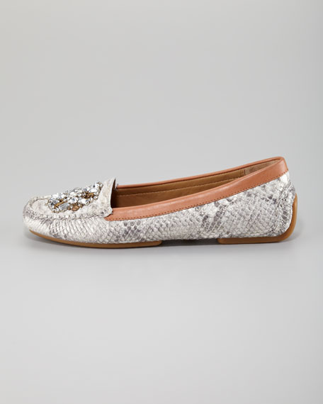 Mystic Metallic Snake-Print Jeweled Loafer