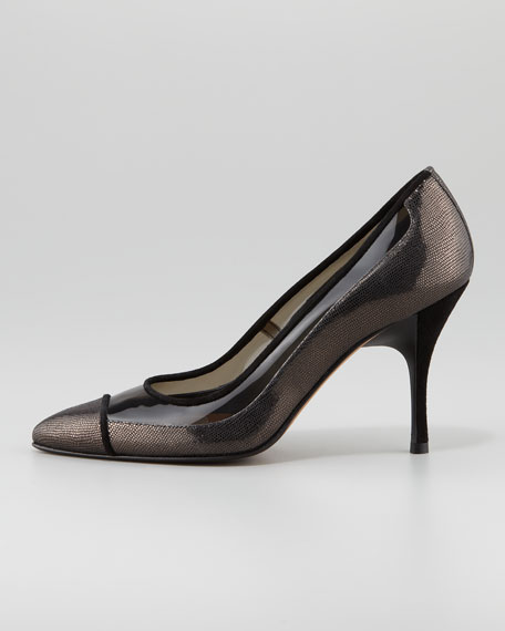Bella Clear-Trim Pointed-Toe Pump, Black/Pewter