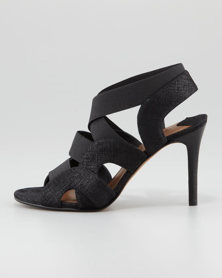 Milos Elastic-Strappy Sandal, Black