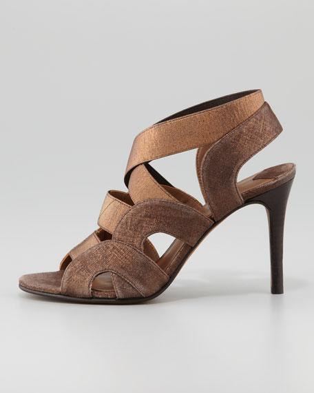 Milos Metallic Elastic-Strap Sandal