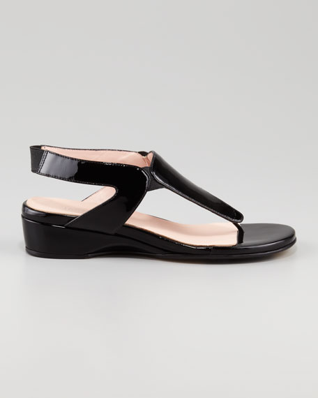 Kiara Low-Wedge Thong Sandal, Black