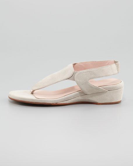 Kiara Low-Wedge Thong Sandal, Silver