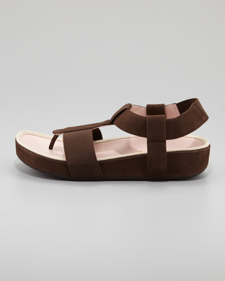 Taryn Rose Elastic Leather Thong Sandal, Teak Brown