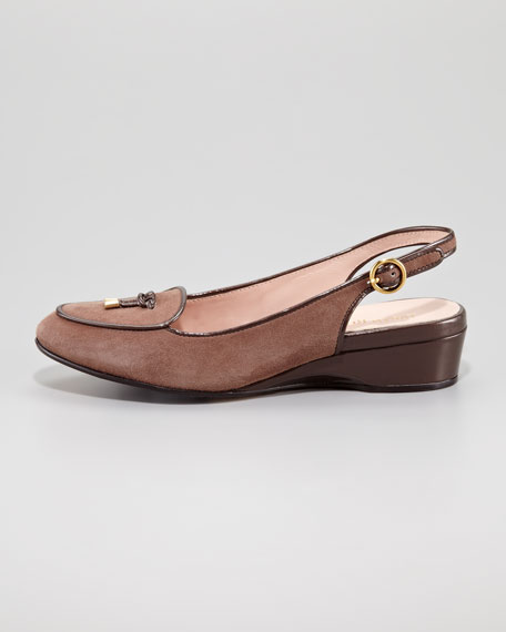 Florrie Low-Wedge Belgium Loafer, Taupe
