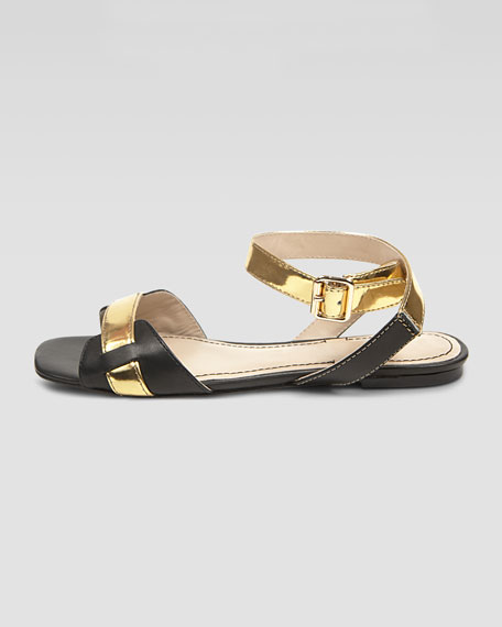 Two-Tone Ankle-Wrap Sandal, Black