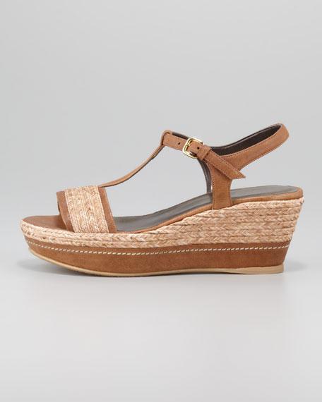 Flatty Raffia Braided Wedge Sandal, Fawn