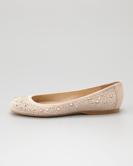Nubeads Beaded Ballerina Flat, Beige