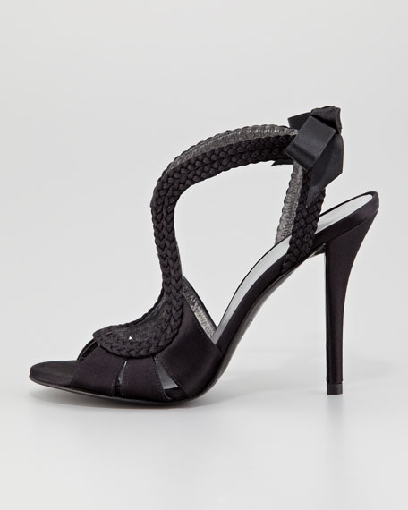 Sweepstake Braided Satin Sandal, Black