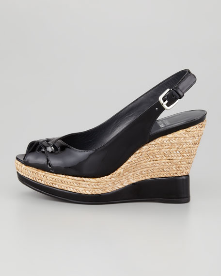 Dolunch Patent Espadrille Wedge Sandal, Black