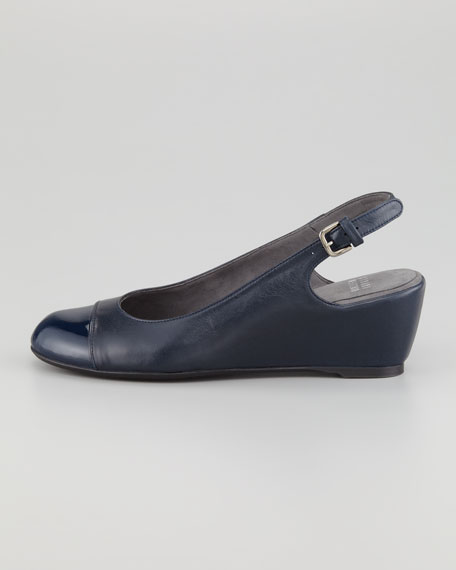Tipin Cap-Toe Slingback Wedge, Navy