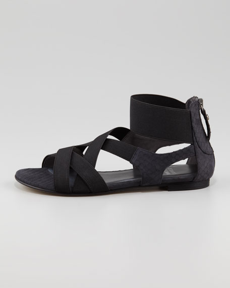 Lasting Elastic Snake-Embossed Flat Sandal, Black