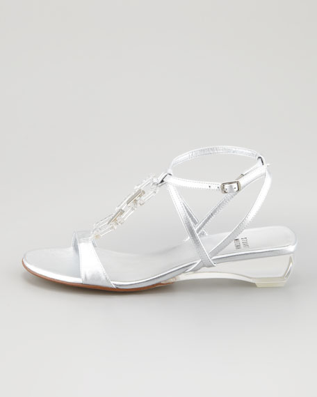 Diamond Lite Metallic Low-Wedge Sandal, Silver