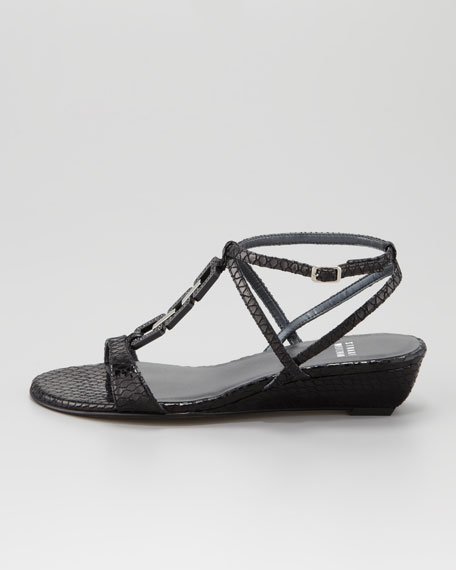 Diamont Lite Patent Leather Low-Wedge Sandal, Black