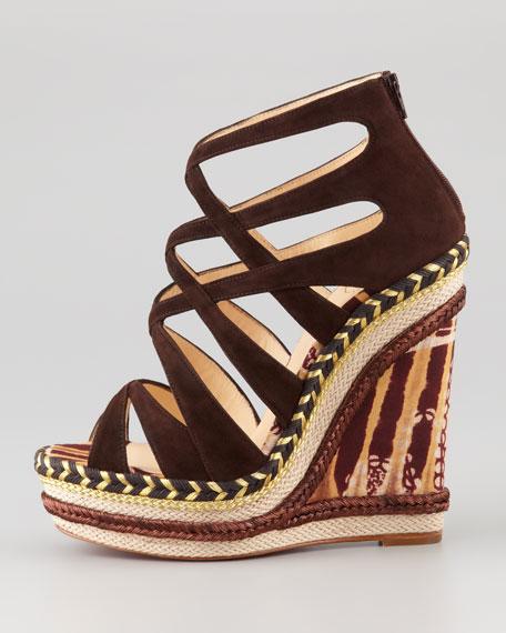 Tosca Crisscross Wedge Sandal, Chocolate