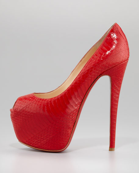 Highness Watersnake Red Sole Pump, Rouge Lipstick