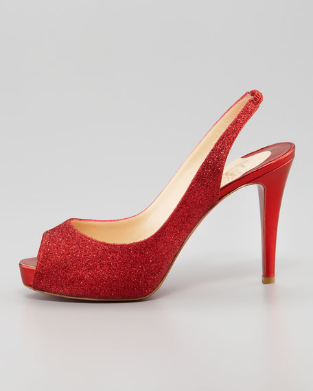 No Prive Glitter Slingback Red Sole Pump, Rogue Lipstick