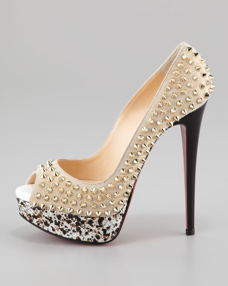Lady Peep Spiked Suede Red Sole Pump