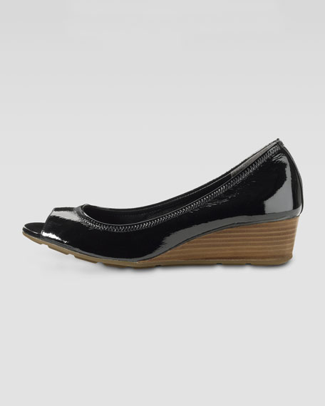 Air Tali Patent Peep-Toe Wedge, Black