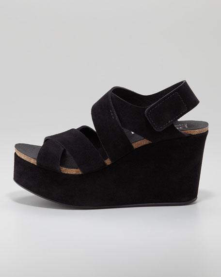 Delsie Suede Crisscross Wedge Sandal, Black