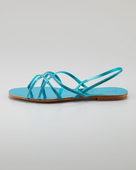 Elora Crystal-Detailed Flat Sandal, Capri