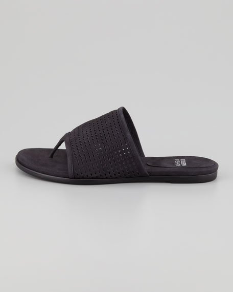 Perforated Leather Thong Sandal, Black